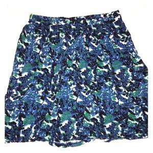 GAP blue and green floral tea skirt XL